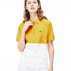 LACOSTE Colorblock Cotton Zipper Polo Yellow White